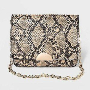 WOMEN'S SNAKE PRINT FANNY PACK WITH CHAIN NEW